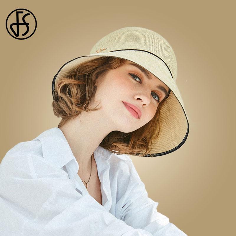 FS Summer Wide Brim Straw Hats Big Sun Hats For Women Panama Floppy Beach Ladies Chapeau De Paille Femme Etc Black