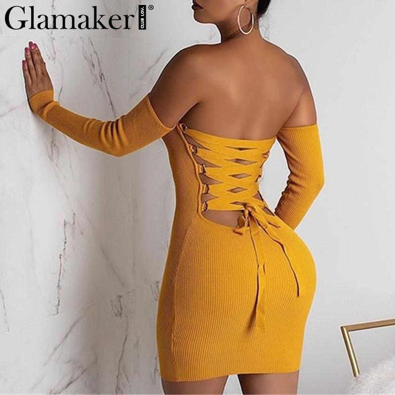Glamake Sexy knitted off shoulder bodycon red dress Women backless lace up mini dress elegant Spring party club dress vestidos T200911