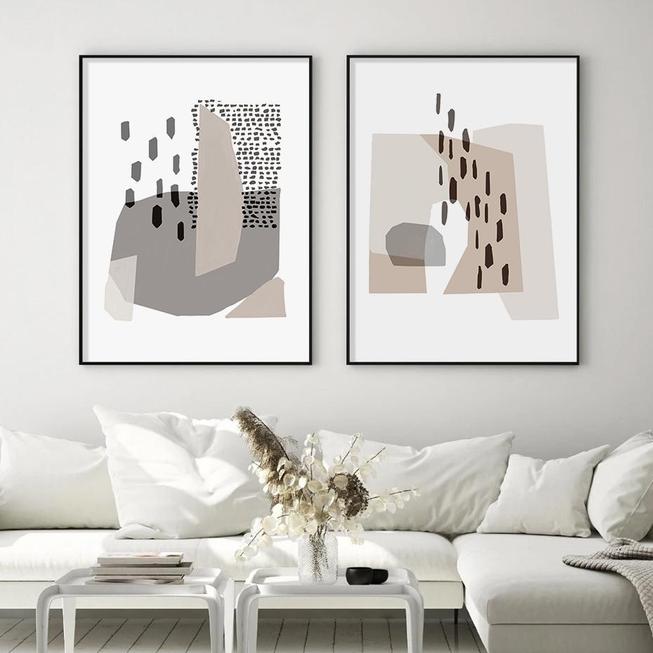 Resumen de Bohemia gris irregular geometría moderna de la lona pintura del arte impresiones Carteles para sala de estar decoración del hogar interior