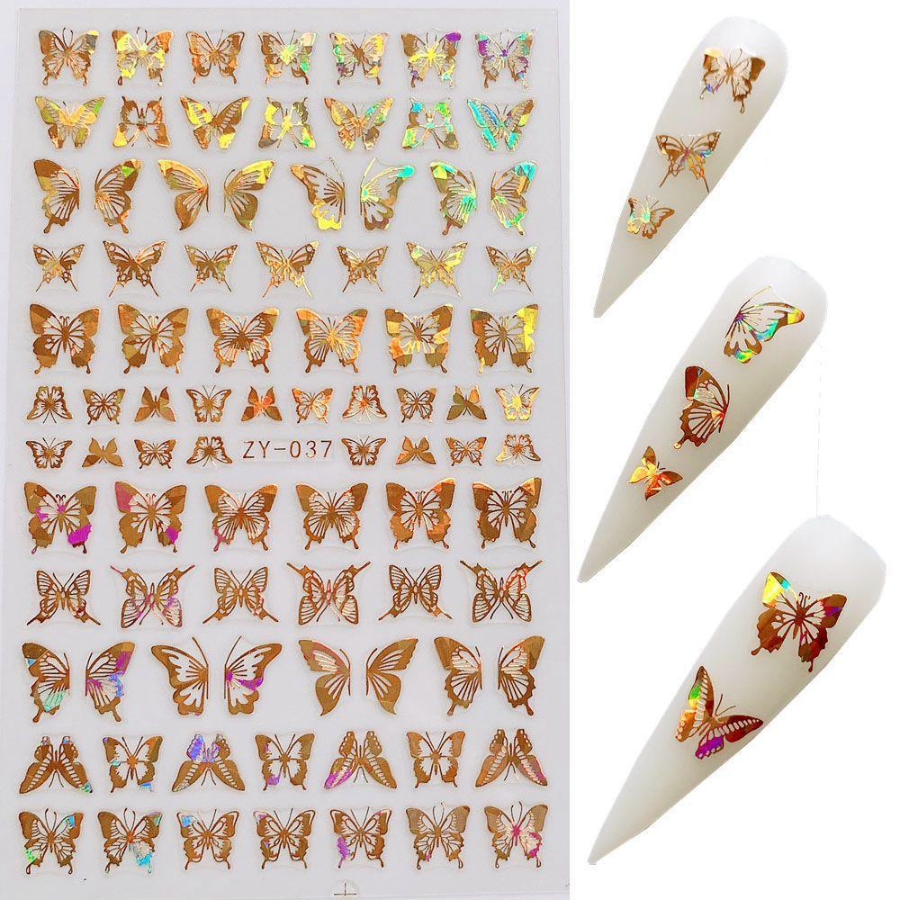 100 Hojas del clavo 3D de la mariposa pegatinas Hollowing Diseño Etiqueta de transferencia de láser de oro de plata adherente de la etiqueta del arte del clavo de la decoración