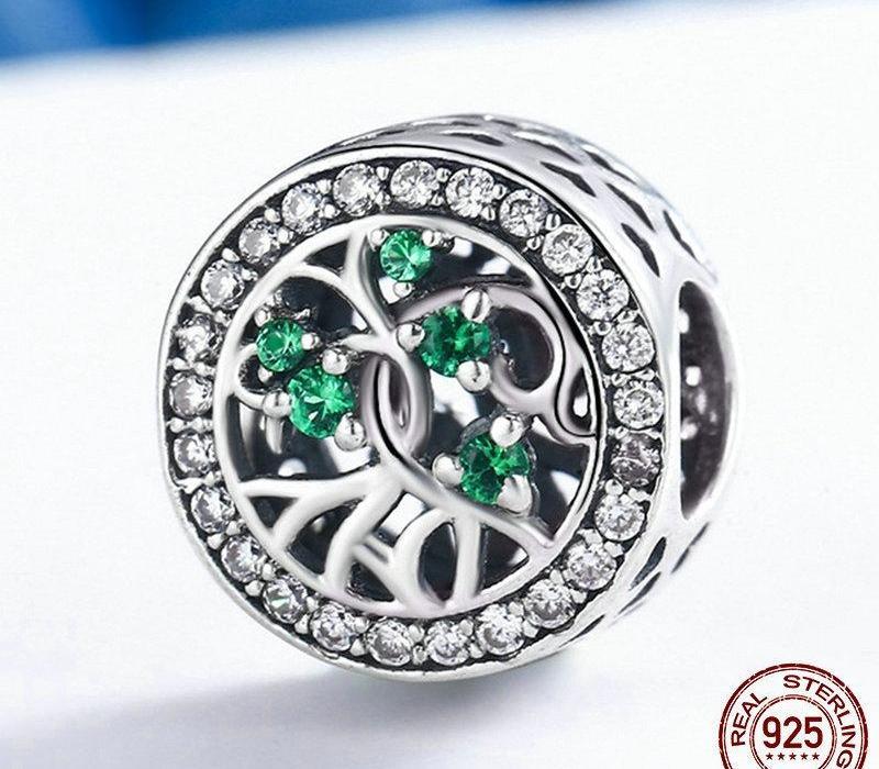 925 Sterling Silver Verde CZ cristal A Árvore da Vida Charms Pingente caber Original pulseiras colares DIY Jewelry77