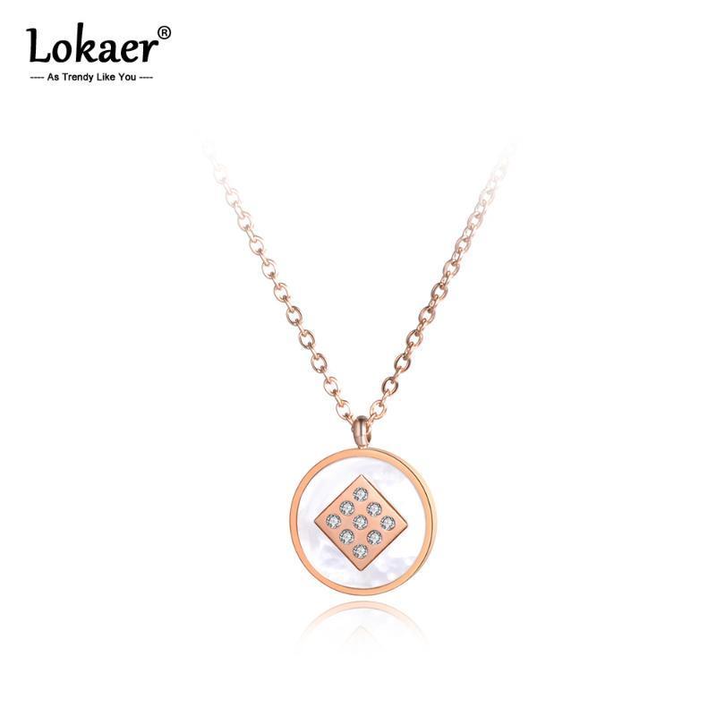 Lokaer Мозаика Rhinestone нержавеющей стали Чокеры Ожерелья Белый Shell С Круг розовое золото ожерелье для женщин N19043