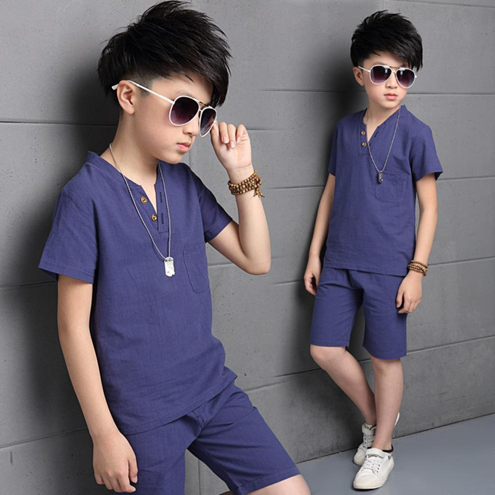 New Summer Clothing School Kids Cotton Linen T-Shirt + Shorts 2pcs Set 4-15Y Big Children Teenage Boys Costumes H066