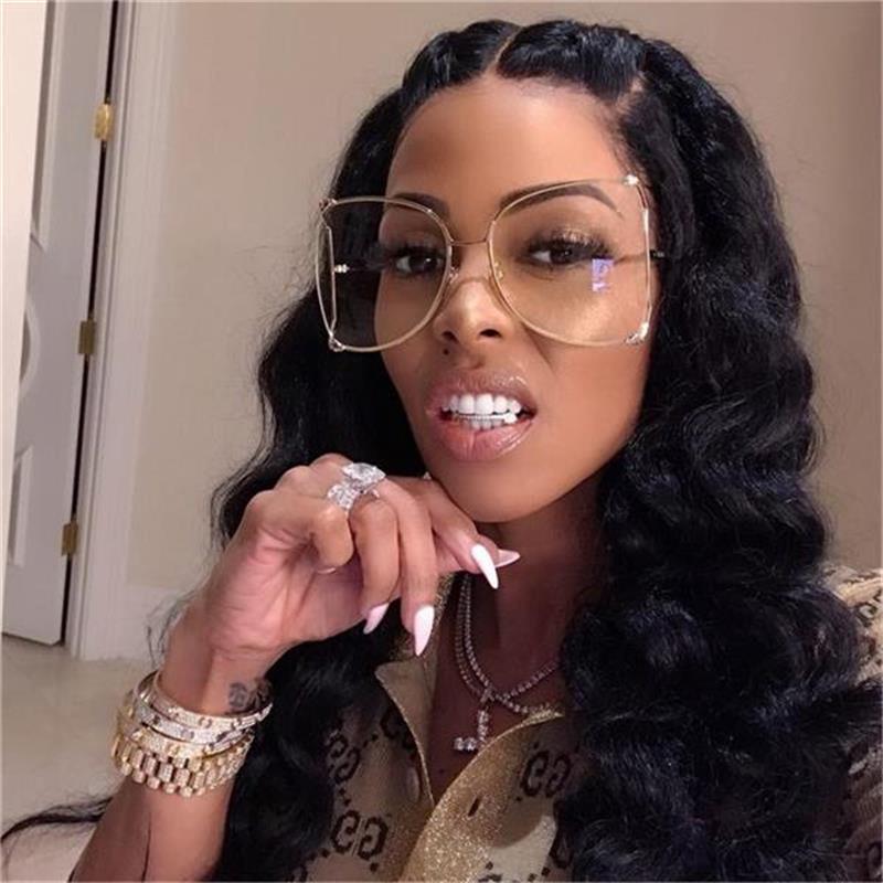Mode Neue Half Frame Eyewear Pink Designer Marke Klare Perlen Sonnenbrille Damen Weibliche Frauen Übergroße Quadratische Brille 2021 für Tiola
