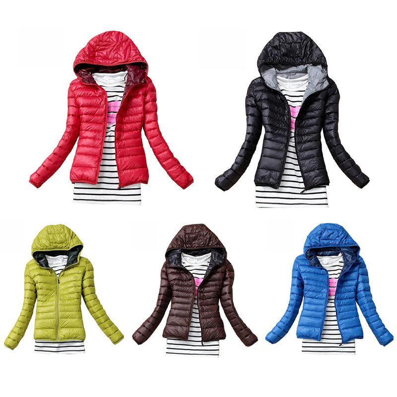 Женские Куртки Осень Осень Зимние Женщины Базовый Куртка Пальто Женская Слим Пальто с капюшоном Пальто вскользь Черный