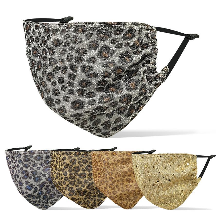 Os homens enfrentam designer de moda máscara máscaras luxo Leopard print máscara facial mulheres penduradas tipo ouvido respirável à prova de poeira máscara adulto neblina