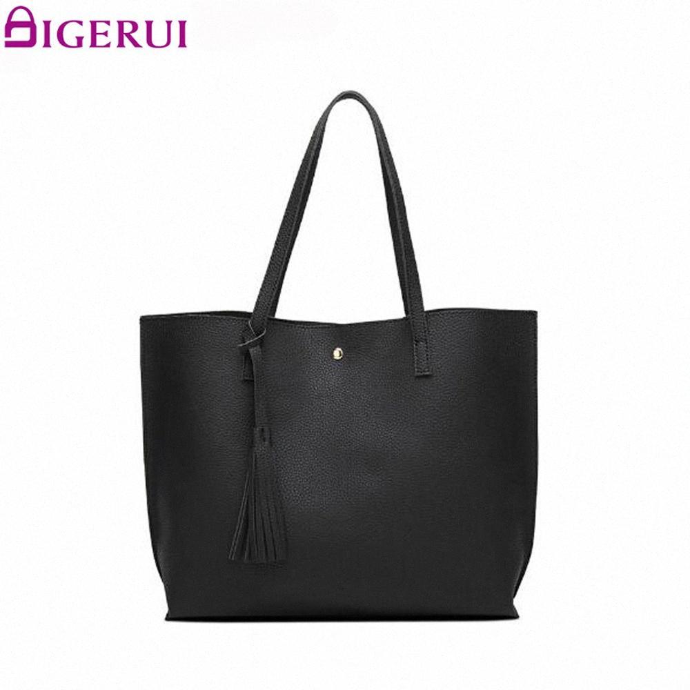 Le donne annata della borsa della borsa di spalla casuale Tote Bag Moda Borse maniglia superiore borsa del portafoglio Borse in pelle per le donne 2018 Nero cWLz #