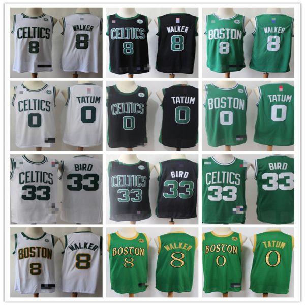 De los hombresBostónCeltics33 LarryBird 8 KembaWalker 0 JaysonTatum verde blanco Baloncesto Baloncesto Jersey Pantalones cortos