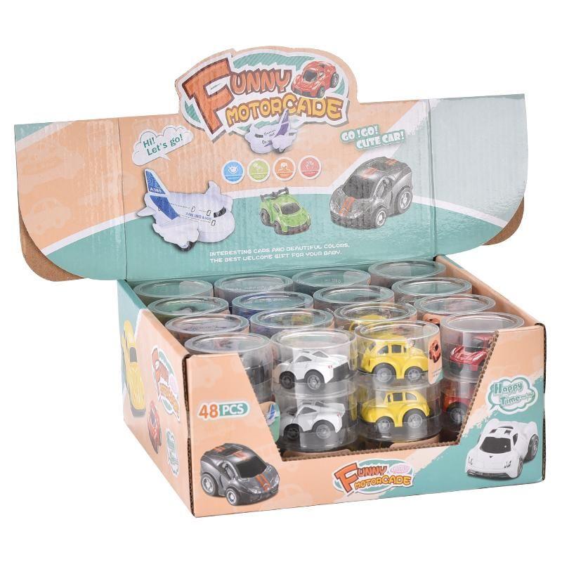 48pcs / set mini divertente auto giocattoli bambini set macchinario cool kids racing veicolo indietro pull mobile boy wheels codef regalo di compleanno