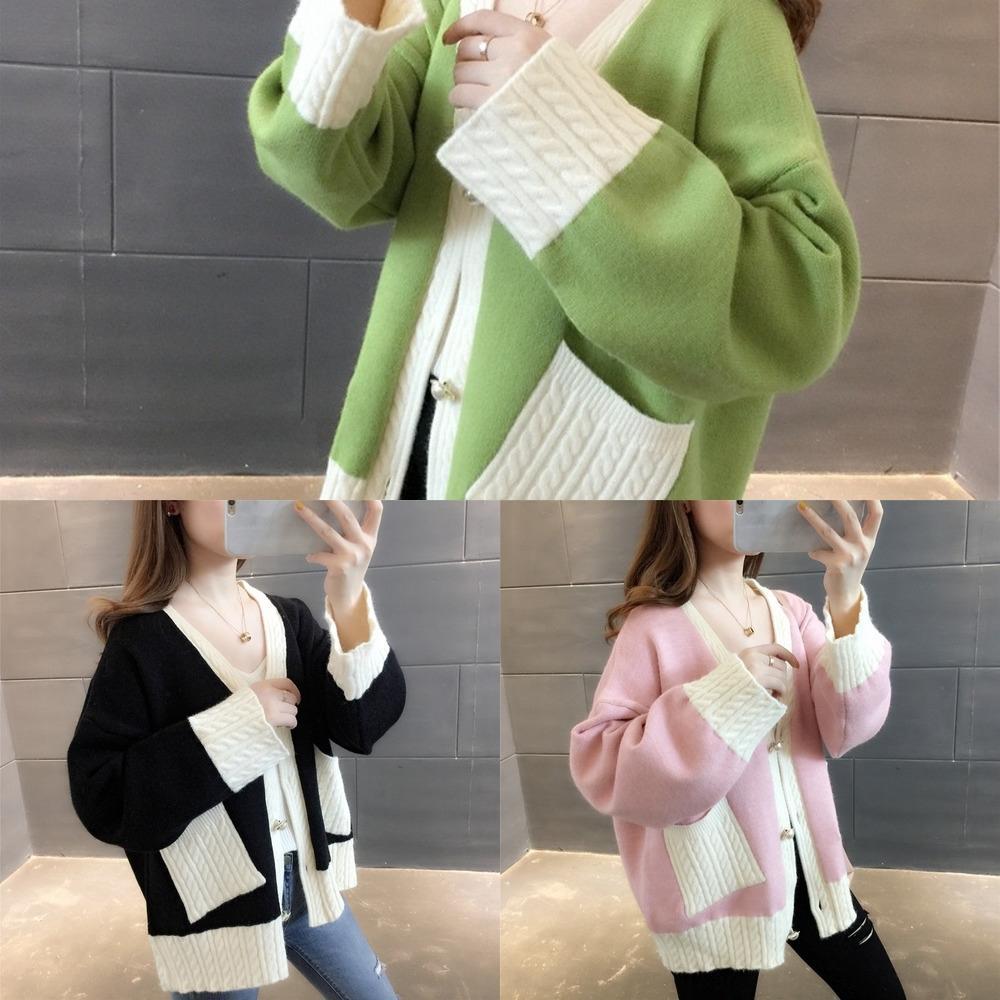 vIrzG maglione Giacca moda autunno del pigro giacca casual con scollo a V QA213 2020 e autunno inverno donne Loose Women maglione nuovo