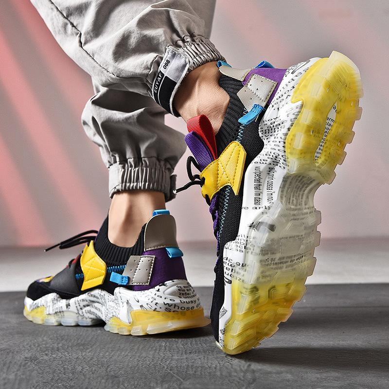 Hohe Qualität Dad Schuhe Herren 2020 Herbst New Saug Modell Fliegen Woven Breathable Turnschuhe Laufsport Fashion Trend Freizeitschuhe