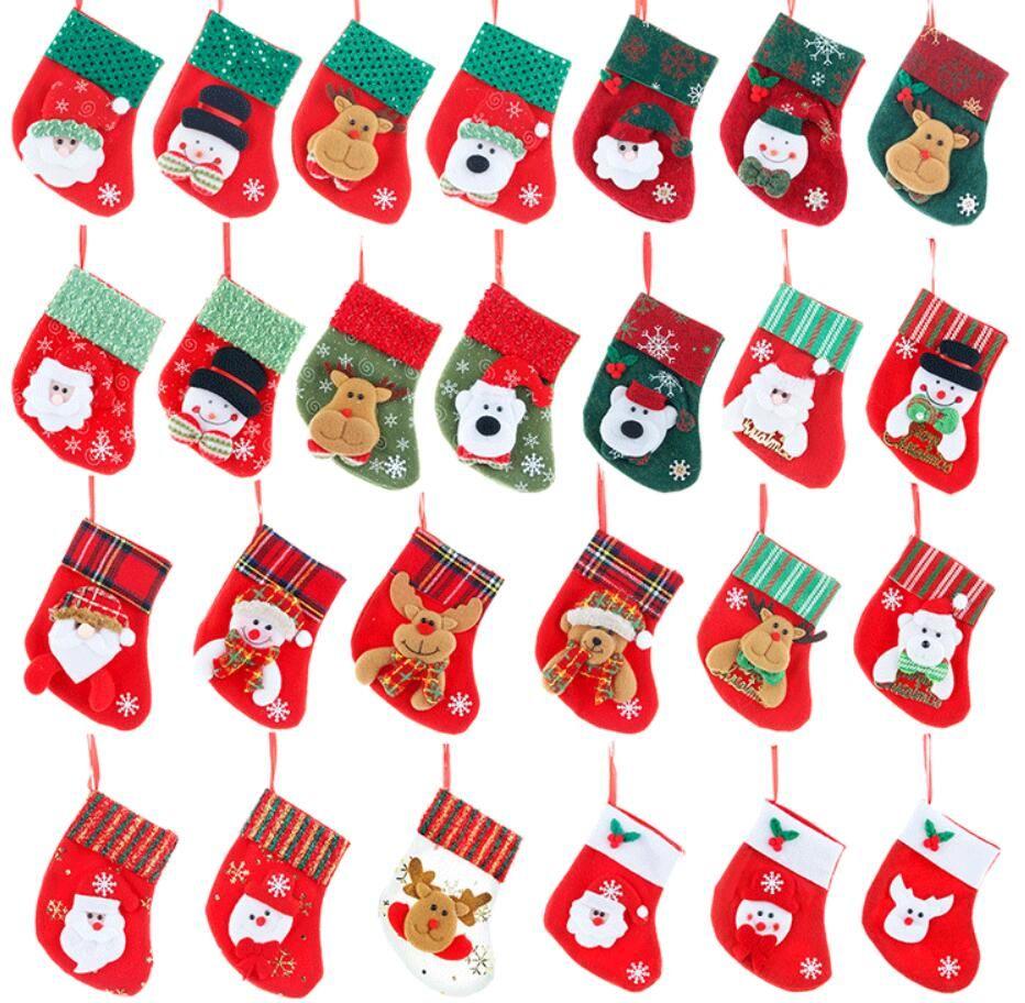 Regalos de Navidad calcetín colgante Feliz Navidad almacenamiento medias para niños de noche Caramelo Bolsas Inicio del árbol de Navidad del partido Decoración del calcetín 26 estilo elegir