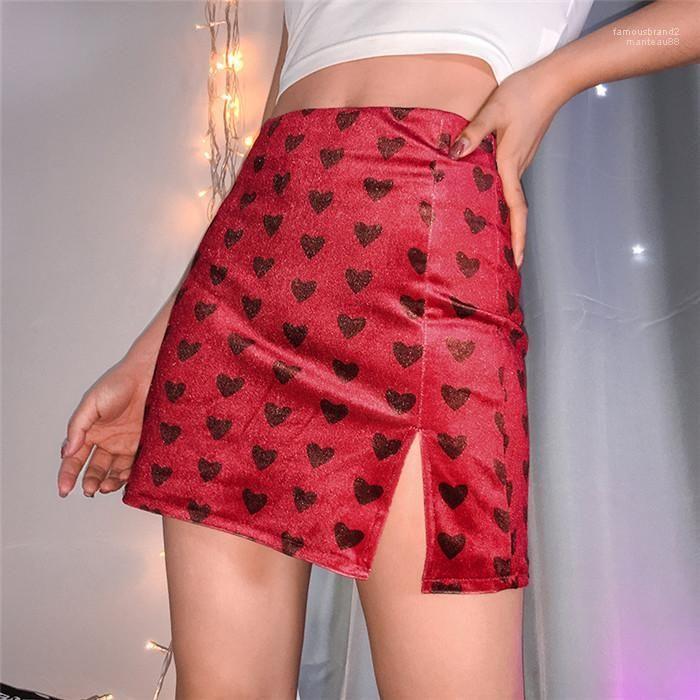 Designer Split einer Linie Rock im Sommer mit hohen Taille war dünn und modischer Printed Samtrock Womens