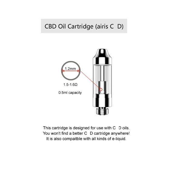 2021 Wholesale airis Tripod 510 Thread Cartridge 0.5ML Quartz Heating Glass Tank Compatible with Wax/Thick Oil E-Cigarette