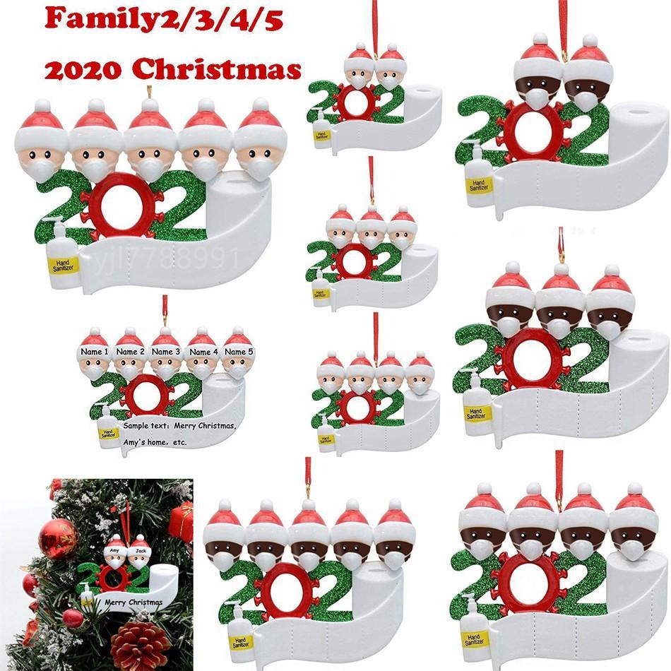 Adorno de navidad el árbol de navidad de cuarentena colgantes Decoración Familia regalo de ornamento con la resina de la máscara de la mano Sanitized por DHC2160 mar