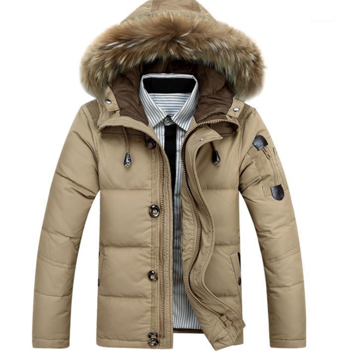 Дизайнер Mens с капюшоном ветровки Зима Мужчины Пальто Мода Толстые Сплошной цвет Zipper вниз