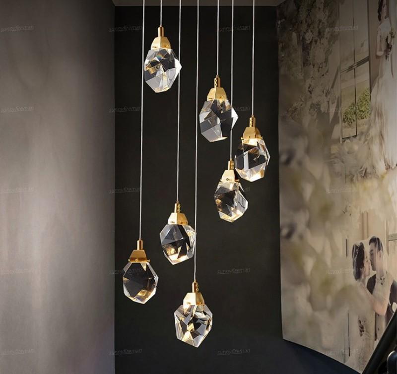 Nordic Diamond Cut Kristall Pendelleuchte Wohnzimmer Esszimmer Innenleuchten Treppen Bar Loft Beleuchtung Deckenleuchter-Lampe