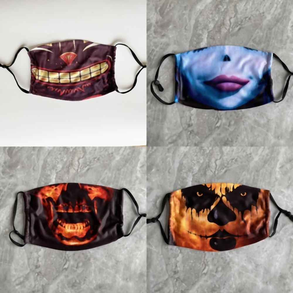 Hp40p Halloween crâne Masques Clown magique vélo Hallowmas utilisation Sport Demi-masque visage Masques de ski Masques cou crème solaire bouche adulte visage Par