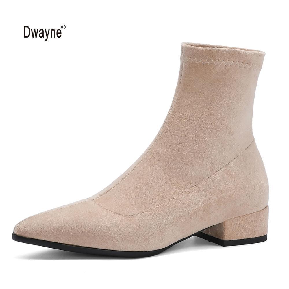 Женщины осень зима потепление сапоги 2020 новая мода скольжения на низкой пятки заостренный носок гибкая флок вскользь ботинки большого размера 34-43