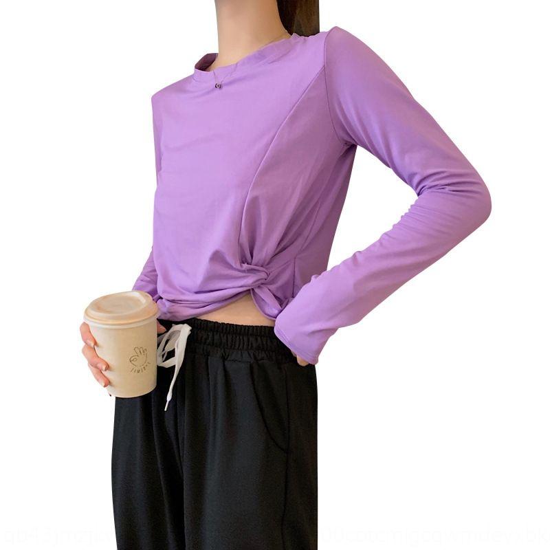 vUkqy полиэстер рубашки с длинными рукавами TWomen Весна и осень новой рубашки стиля студента высокой талией пупка короткий базовый пригонки Tshirt 2020 Корейский