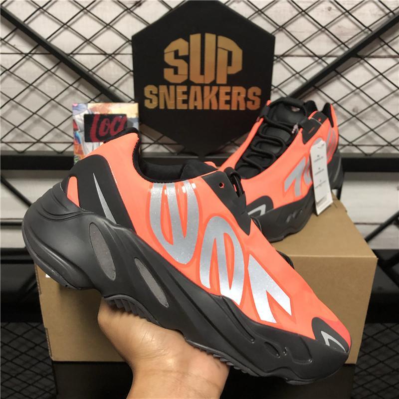 2020 zapatos corrientes de Kanye West 700 MNVN Naranja Negro 700 MNVN Bone Triple Negro 3M reflectante mujeres de los hombres zapatillas de deporte libre del envío Size36-46
