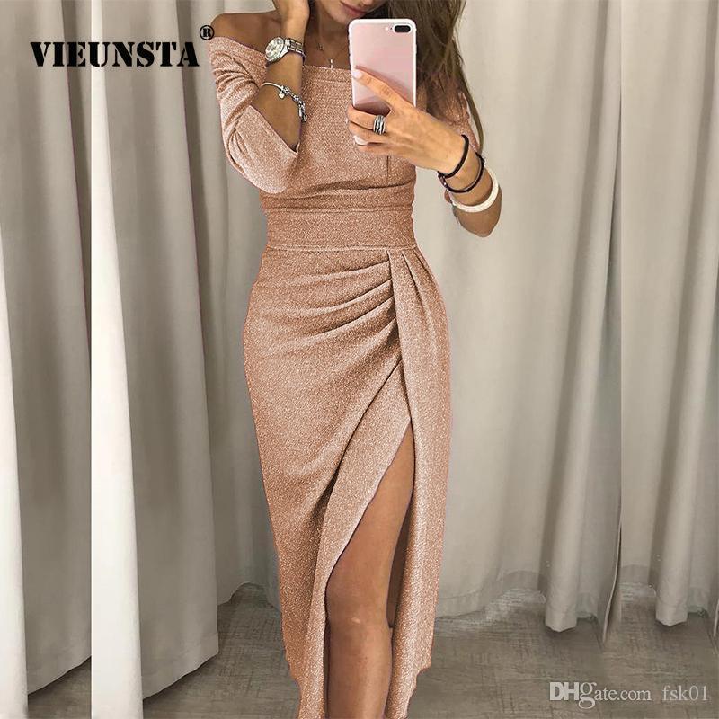 VIEUNSTA Sexy weg von der Schulter-Partei-Kleid-Frauen-Slit Peplum figurbetonten Kleid Herbst Dreiviertel Hülsen-helle Seide glänzendes Kleid