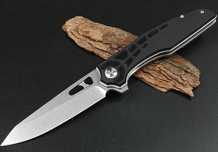 Promotion HHY010 Ball Bearing Flipper Folding Knife D2 Stone Wash Blade G10 + Stainless Steel Sheet Handle Outdoor EDC Pocket Knives