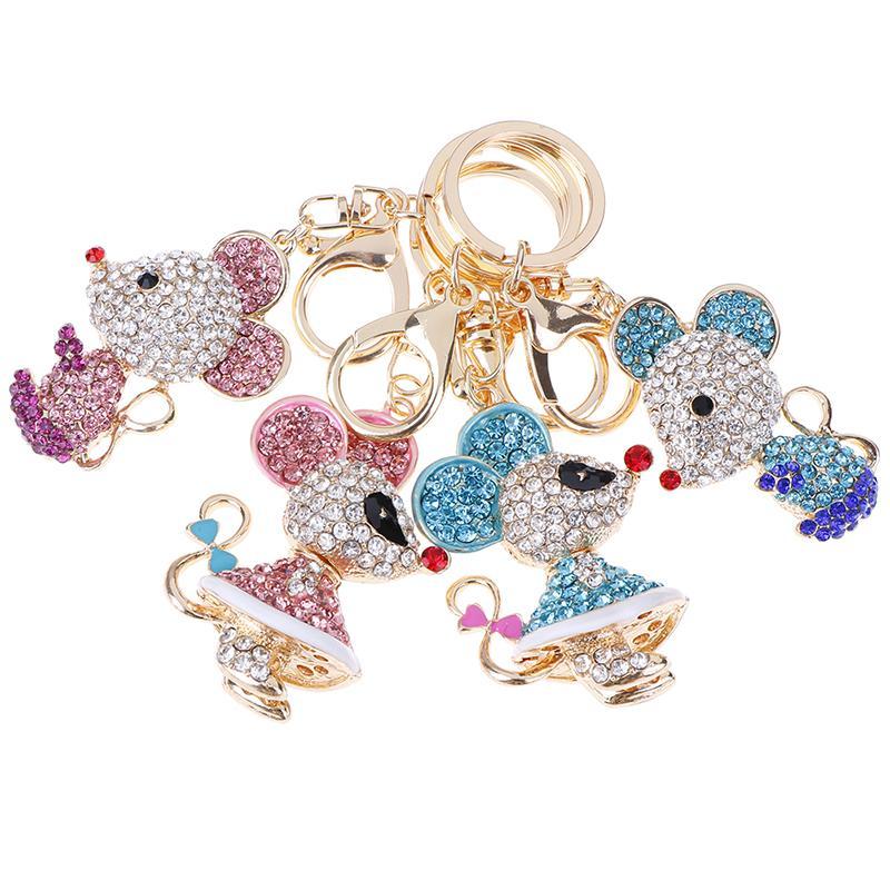 Bolsa del metal del Rhinestone de ratón encantador de cristal colgante llavero del encanto de la joyería para las mujeres Llaveros animales