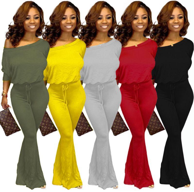 Le donne del manicotto del blocco tuta di modo casuale Big U-collo della Bell pantaloni di colore pagliaccetti Club Sexy Slim T Shirt Solid Skinny la tuta