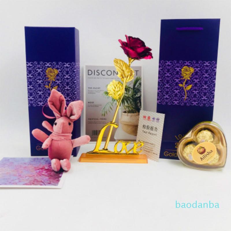 Jour 24k feuille d'or de la Saint-Valentin Rose Fleur Handcrafted main DIPPED longue tige Lovers cadeau de mariage pourpre boîte-cadeau