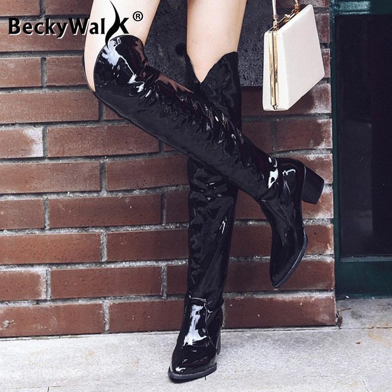 Осень Зима змеиной черные кожаные ботинки женщин высокие сапоги Обувь Мода колено высокие сапоги женщин дамы плюс размер 34 43 WSH3482 Ez97 #