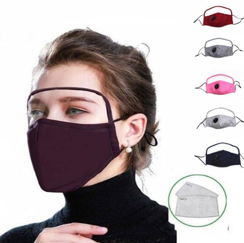 Lavable 1 2 coton en masque avec valve PM2,5 fente Clear Shield en plastique réutilisable Masques pour les yeux respirante Cyclisme Visage Couverture
