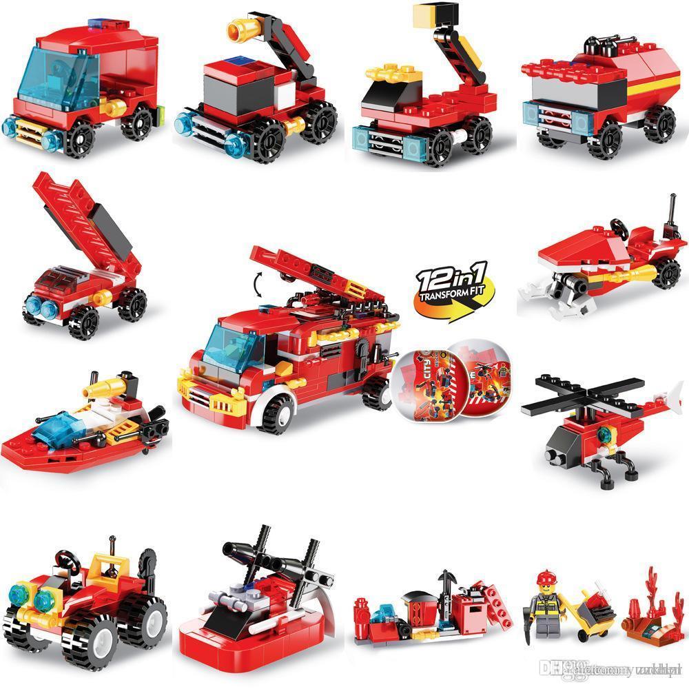 blocchi di costruzione camion dei pompieri attorcigliati l'illuminazione educativo uova per bambini assemblare piccole particelle Building Blocks giocattolo dono