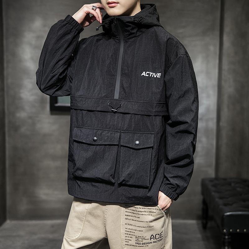 Sifan New vestes pour hommes et manteaux Automne Hip Hop Veste à capuche Pocket Men Bomber Jacket rue Teen Top Vestes d'homme Streetwear