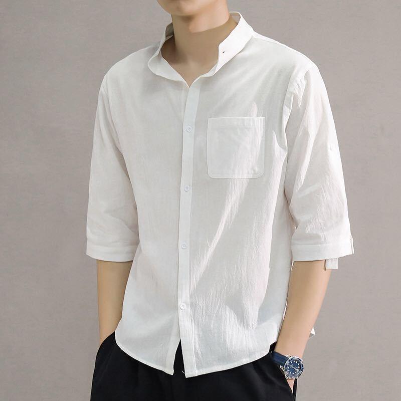 Мужская 2020 Летний новый бестеневая стена большого размера мужской китайский стиль короткий рукав рубашки белье хлопок linenshirt хлопок белье 3X2c2