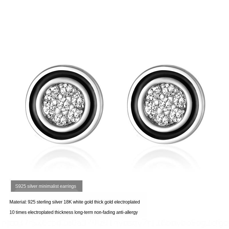 kLqge diamant simple diamant et style coréen mode zircon argent 925 rose Boucles d'or filles quelques boucles d'oreilles personnalisées