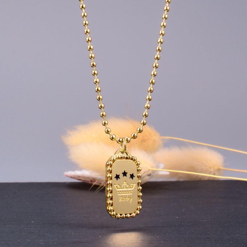 Collier pour femmes fille enfants mode d'or de perles chaîne Collier Rétro chaîne en titane acier Clavicule plaqué or
