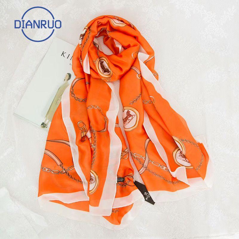 DIANRUO New Style Four Seasons femmes Jolie Grand Ultrathin Foulards en soie Lady Imprimer chaud Châle plage Silencieux Wraps Hijab N386