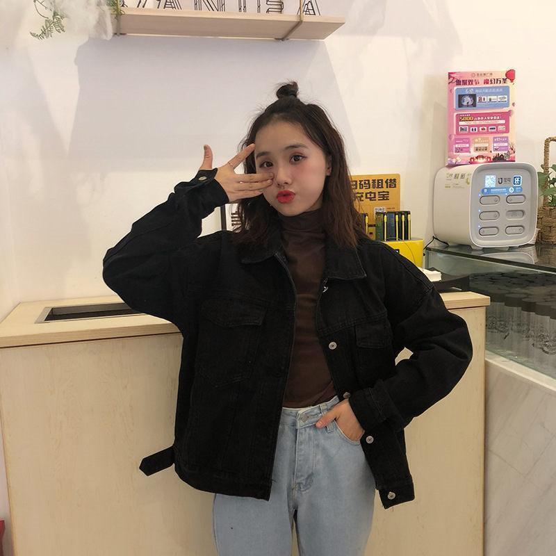 Uzun Kollu Bayan Yaka Boyun ceketler Gevşek Bayanlar Casual Dış Giyim Bayan Tasarımcı Denim Ceket Katı Renk