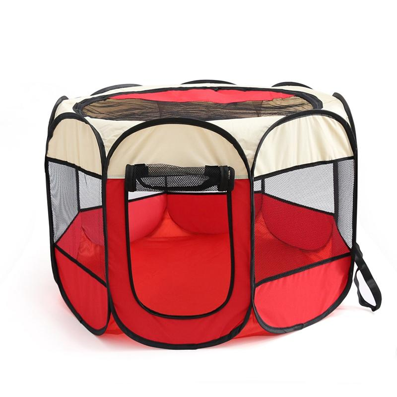 Pet Portable Foldable Playpen Exercise Kennel Dogs Cats Indoor/Outdoor Removable Mesh Shade Cover
