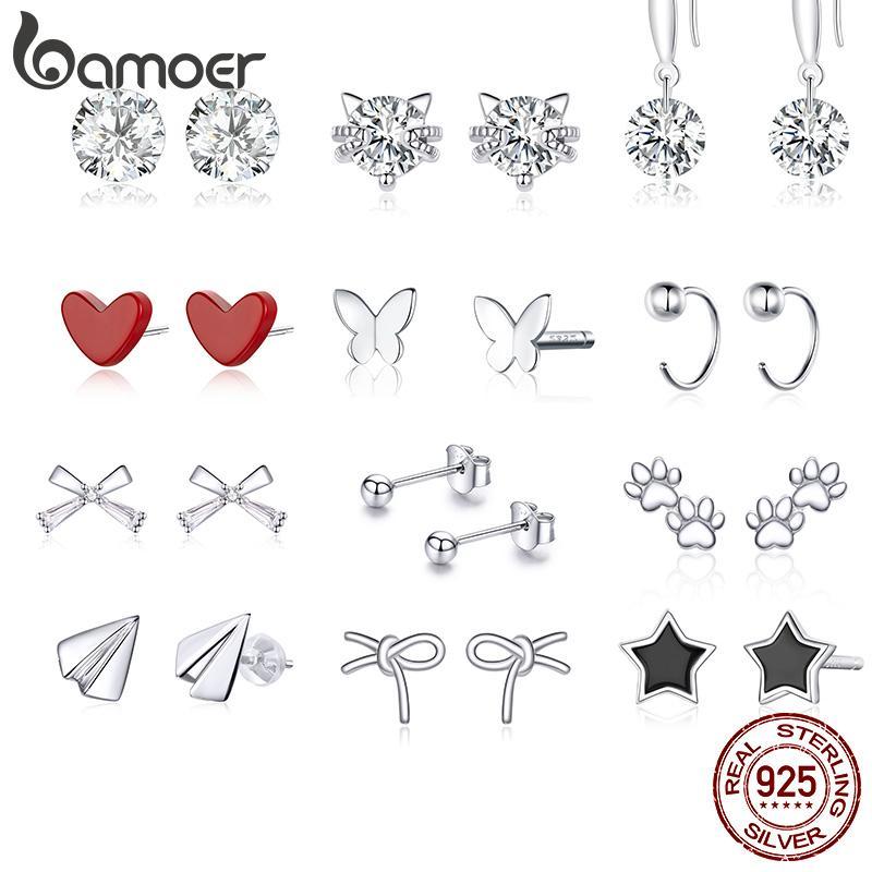 Saplama Bamoer Otantik 925 Ayar Gümüş Yarım Daire Küpe Kadınlar Ve Erkekler Için Güzel Takı Bijoux Minmalistic Basit Kulak