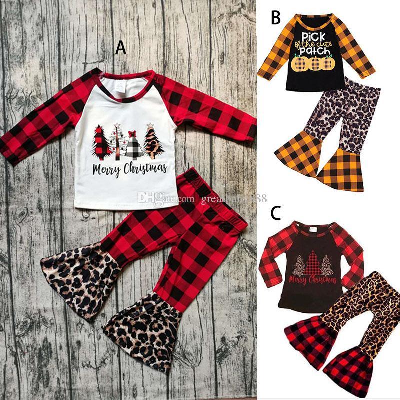 Noel Cadılar Bayramı Çocuk Giyim 2pcs / Bebekler Kıyafetler M2717 ayarlar Kabak Baskı Uzun Kollu Üst + Plare Ekose Leopar Pantolon ayarlar
