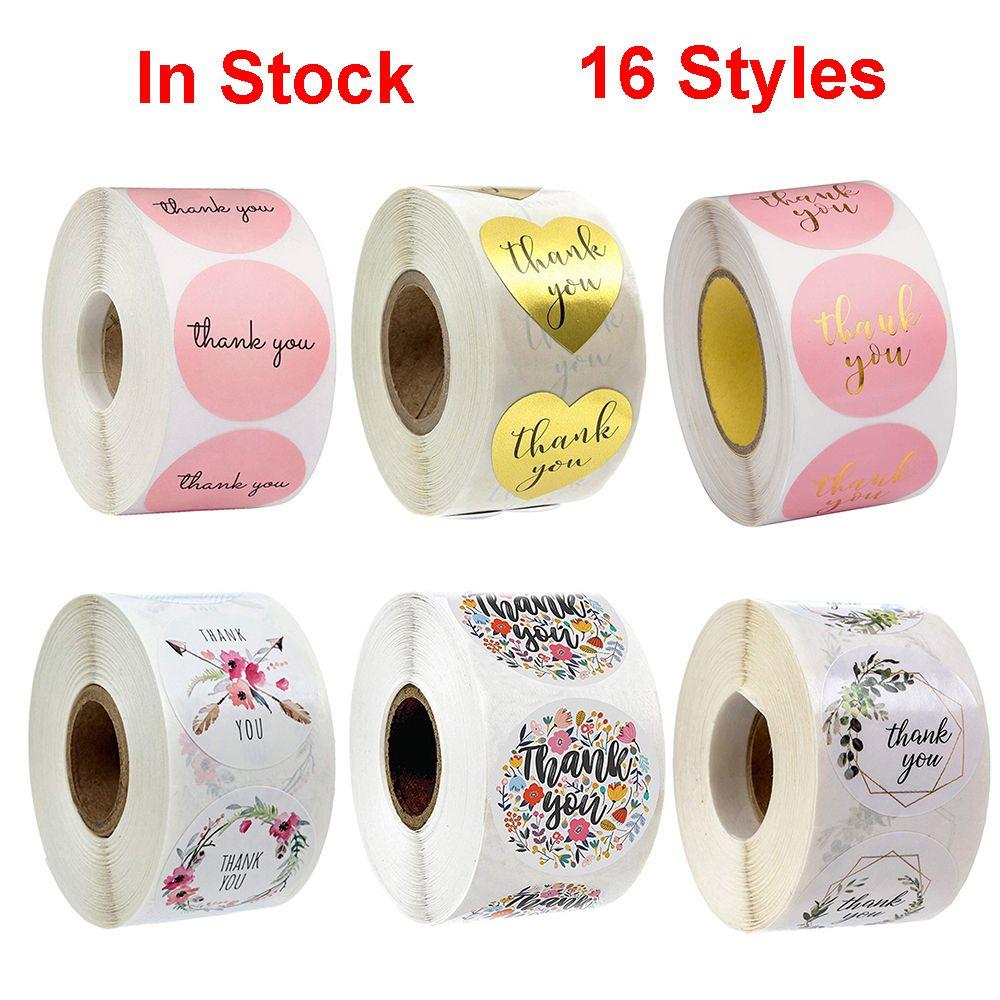 Rosa Papier-Aufkleber-Gold danken Ihnen Aufkleber Scrapbooking 500pcs für Hochzeits-Geschenk-Karten-Geschäfts Verpackung Stationery Sticker