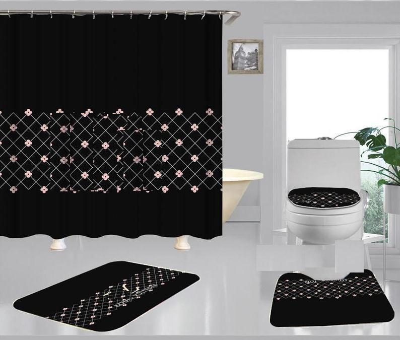 L Schreiben Modische Dusche Wohnkultur Mat Weiche Anti-Rutsch-Teppich Kleine Blumen-Druck-Vorhang Vintage-Gitter Bad Curtain01