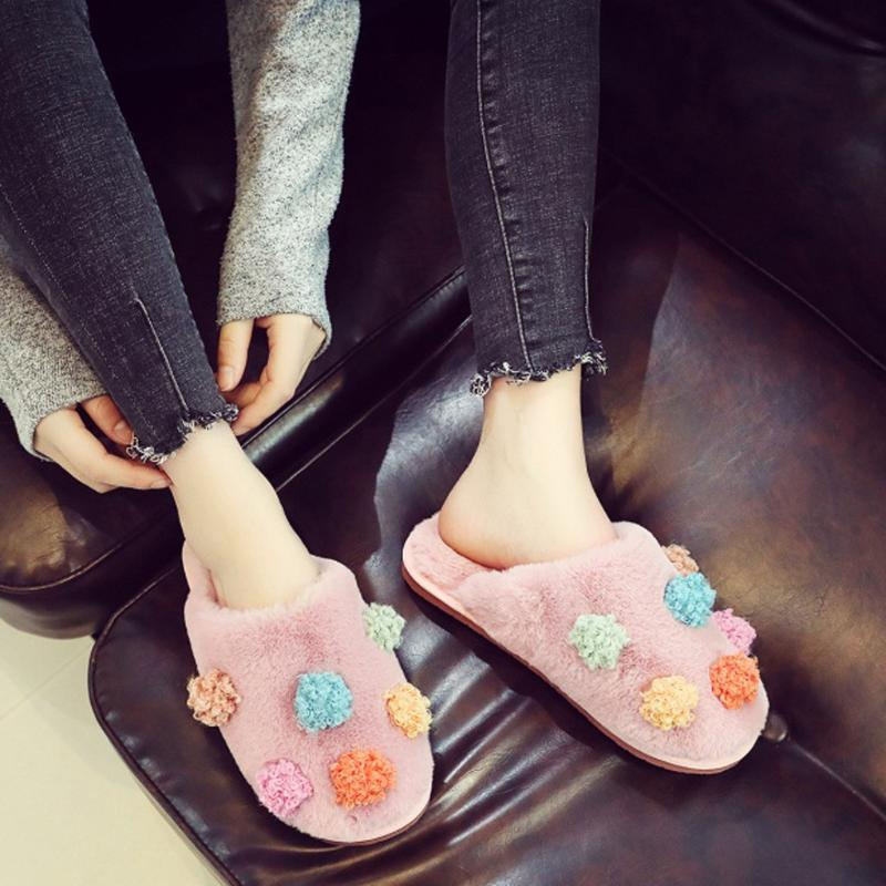 Zapatillas zapatos para casa mujer algodón plano mujer invierno grueso fondo lindo cálido pantalufle femme