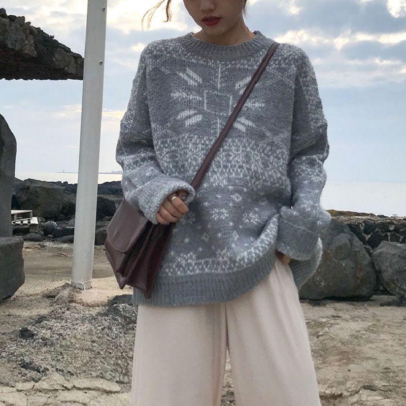 Harajuku 2020 Moda Outono Vintage Imprimir Pullovers Swaeters Casual Plus Size solto Feminino Camisolas pequeno fresco manga comprida