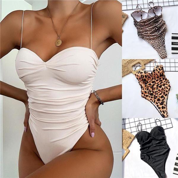 Push-up-Bikini-Satz reizvolle Badebekleidung 2020 hoch geschnittenes Bein Badeanzug Frauen Leopard druckt Fest Farbe Badeanzug Gepolsterte