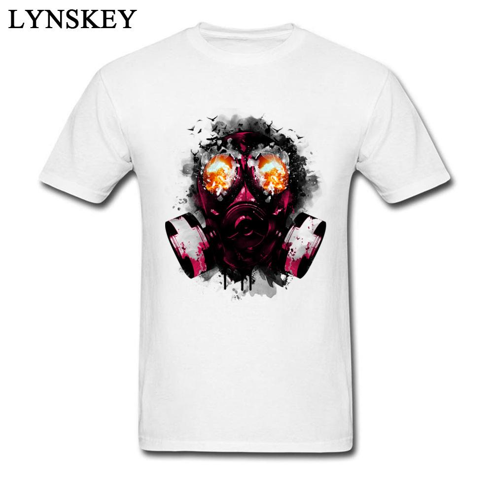 Explode маска, напечатанных на мужские Прохладный футболки Стильный летний Streetwear чистого хлопка верхней одежды футболках White