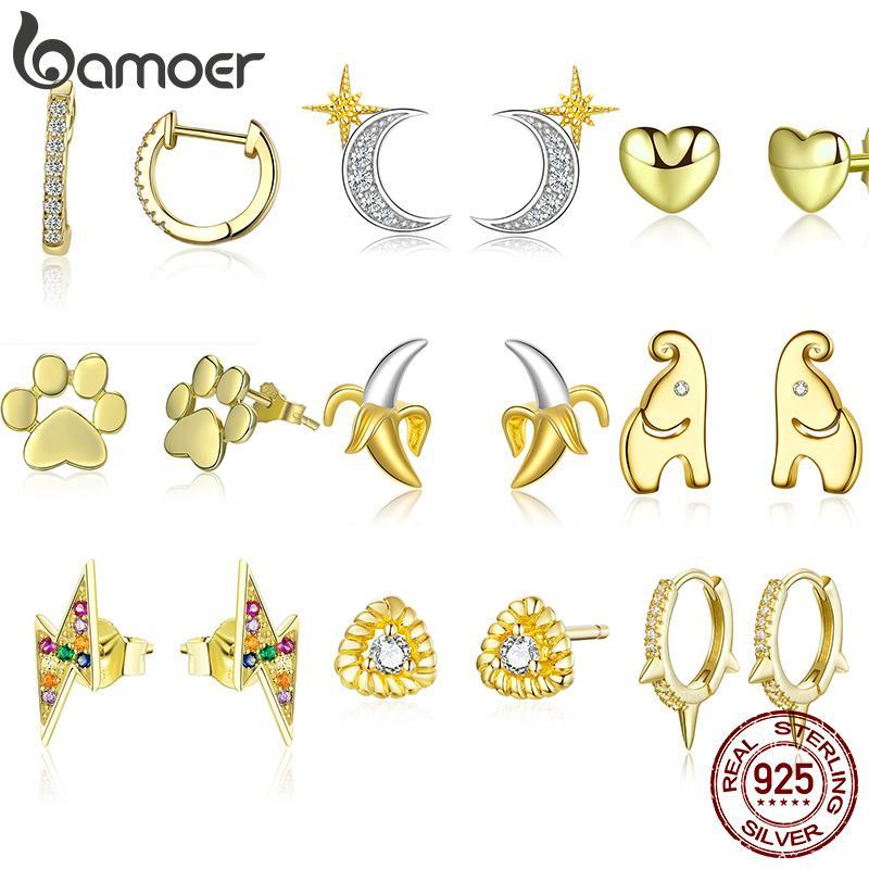 Kadınlar Gümüş 925 Takı Düğüm Kulak iğneler Kadın Küpe 2020 BAMOER Gerçek Altın Renk Gümüş saplama Küpe
