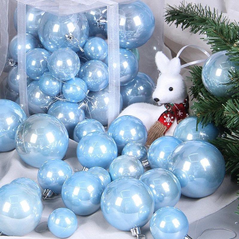 Noel Doğum Düğün Dekorasyon Ağaç Süsler Toplar Dekorasyon zYEx için # 37pcs Pembe Pembe Altın İnci Noel Topu